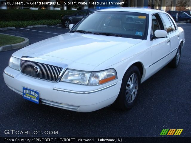 vibrant white 2003 mercury grand marquis ls medium parchment interior. Black Bedroom Furniture Sets. Home Design Ideas
