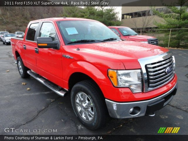 race red 2011 ford f150 xlt supercrew 4x4 steel gray interior vehicle. Black Bedroom Furniture Sets. Home Design Ideas