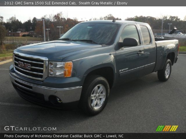 stealth gray metallic 2012 gmc sierra 1500 sle extended cab ebony interior. Black Bedroom Furniture Sets. Home Design Ideas