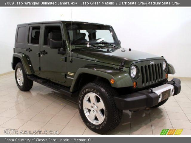 jeep green metallic 2009 jeep wrangler unlimited sahara 4x4 dark slate gray medium slate. Black Bedroom Furniture Sets. Home Design Ideas
