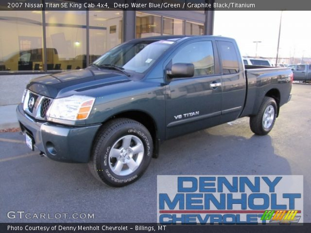 deep water blue green 2007 nissan titan se king cab 4x4 graphite black titanium interior. Black Bedroom Furniture Sets. Home Design Ideas