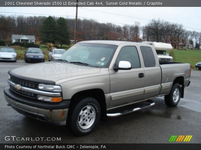 sunset gold metallic 2001 chevrolet silverado 1500 ls extended cab 4x4 graphite interior. Black Bedroom Furniture Sets. Home Design Ideas