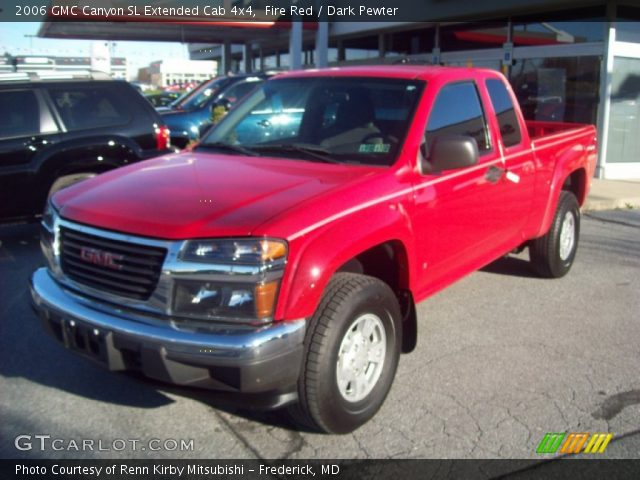 fire red 2006 gmc canyon sl extended cab 4x4 dark pewter interior vehicle. Black Bedroom Furniture Sets. Home Design Ideas