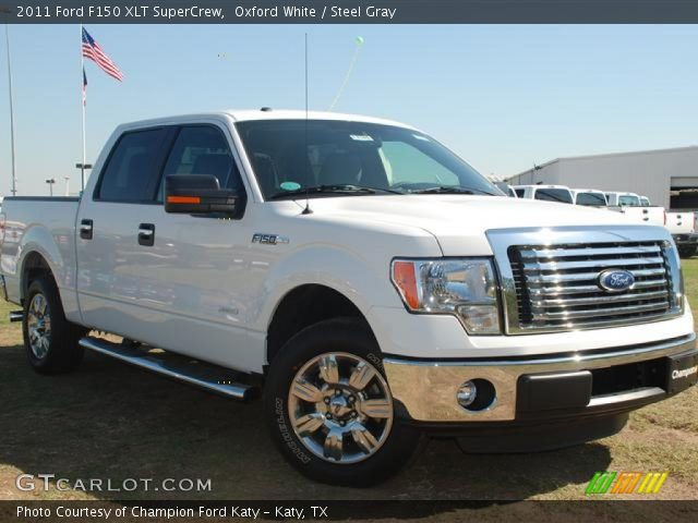 oxford white 2011 ford f150 xlt supercrew steel gray interior vehicle. Black Bedroom Furniture Sets. Home Design Ideas