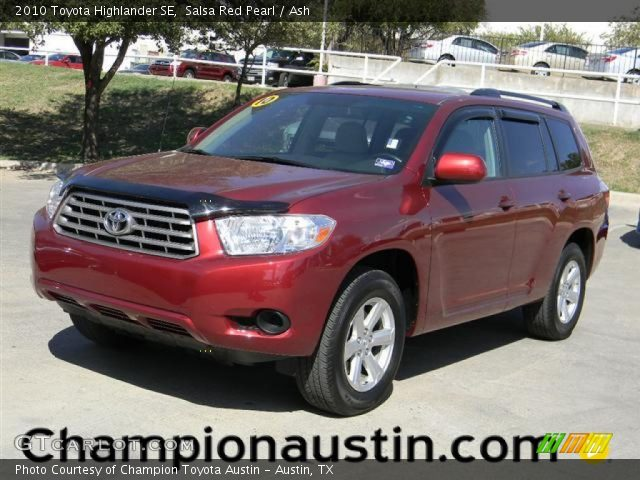 salsa red pearl 2010 toyota highlander se ash interior. Black Bedroom Furniture Sets. Home Design Ideas
