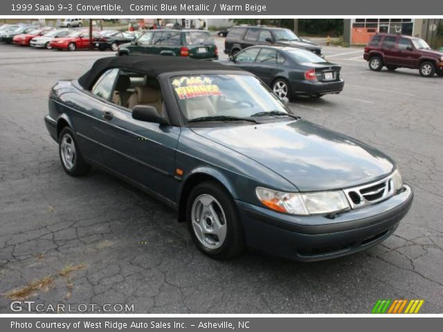 cosmic blue metallic 1999 saab 9 3 convertible warm beige interior vehicle. Black Bedroom Furniture Sets. Home Design Ideas