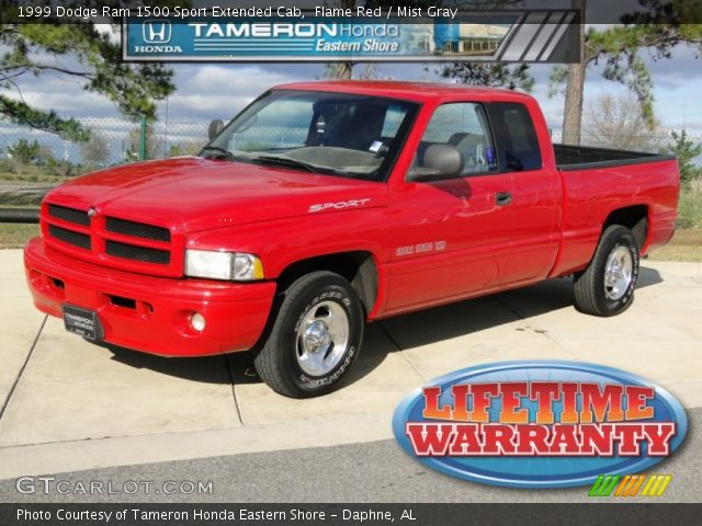 flame red 1999 dodge ram 1500 sport extended cab mist gray interior vehicle. Black Bedroom Furniture Sets. Home Design Ideas