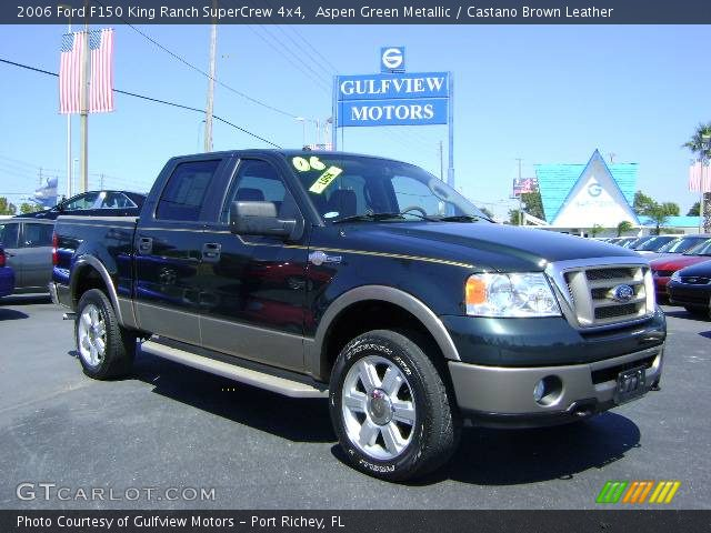 aspen green metallic 2006 ford f150 king ranch supercrew 4x4 castano brown leather interior. Black Bedroom Furniture Sets. Home Design Ideas