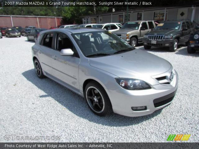sunlight silver metallic 2007 mazda mazda3 s grand touring hatchback black interior. Black Bedroom Furniture Sets. Home Design Ideas