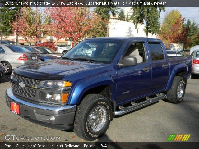 superior blue metallic 2005 chevrolet colorado ls crew cab 4x4 medium dark pewter interior. Black Bedroom Furniture Sets. Home Design Ideas