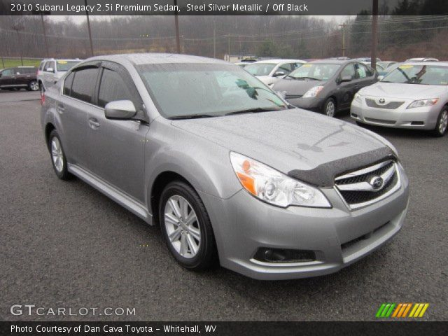 steel silver metallic 2010 subaru legacy premium sedan off black interior gtcarlot. Black Bedroom Furniture Sets. Home Design Ideas