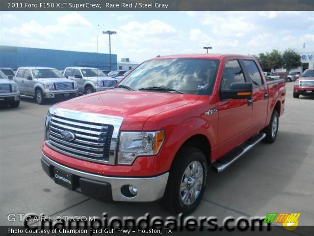 race red 2011 ford f150 xlt supercrew steel gray interior vehicle archive. Black Bedroom Furniture Sets. Home Design Ideas