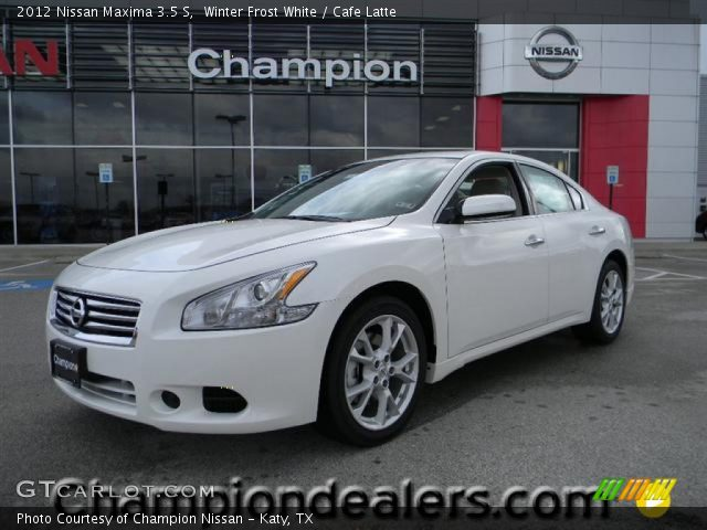 winter frost white 2012 nissan maxima 3 5 s cafe latte interior vehicle. Black Bedroom Furniture Sets. Home Design Ideas