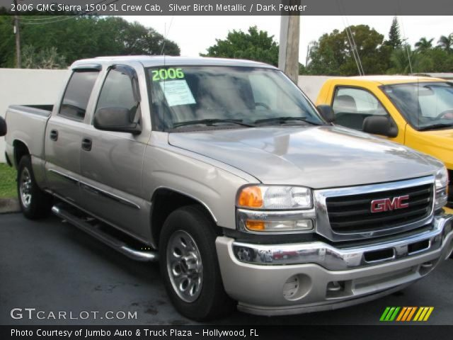 silver birch metallic 2006 gmc sierra 1500 sl crew cab dark pewter interior. Black Bedroom Furniture Sets. Home Design Ideas