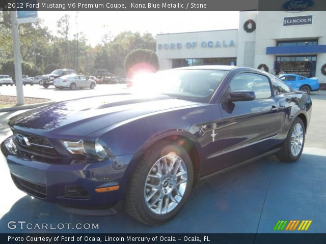 kona blue metallic 2012 ford mustang v6 premium coupe stone interior. Black Bedroom Furniture Sets. Home Design Ideas