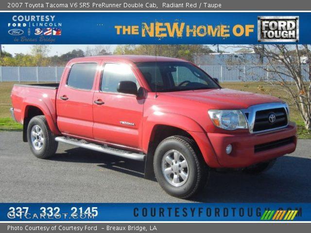 radiant red 2007 toyota tacoma v6 sr5 prerunner double cab taupe interior. Black Bedroom Furniture Sets. Home Design Ideas