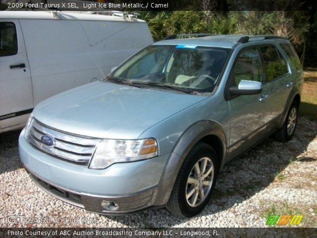 light ice blue metallic 2009 ford taurus x sel camel interior vehicle. Black Bedroom Furniture Sets. Home Design Ideas