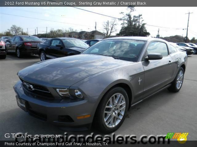 sterling gray metallic 2012 ford mustang v6 premium coupe charcoal black interior gtcarlot. Black Bedroom Furniture Sets. Home Design Ideas