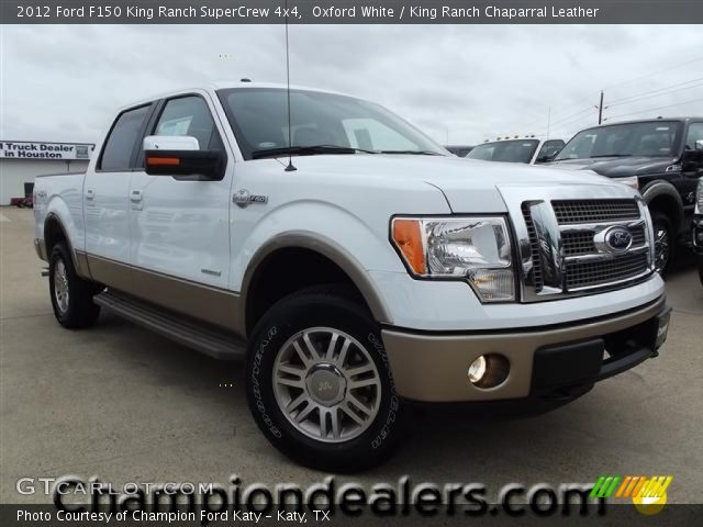oxford white 2012 ford f150 king ranch supercrew 4x4 king ranch chaparral leather interior. Black Bedroom Furniture Sets. Home Design Ideas