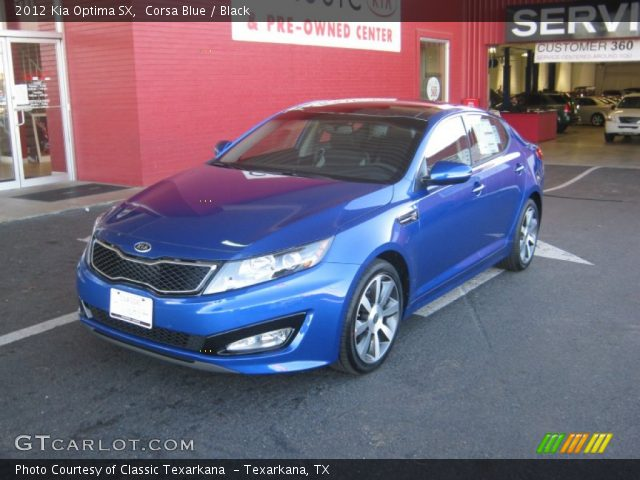 corsa blue 2012 kia optima sx black interior. Black Bedroom Furniture Sets. Home Design Ideas