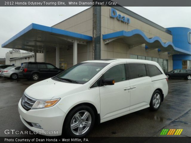 white diamond pearl 2012 honda odyssey touring elite gray interior vehicle. Black Bedroom Furniture Sets. Home Design Ideas