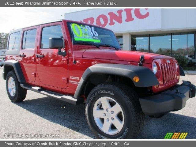 flame red 2012 jeep wrangler unlimited sport s 4x4 black interior vehicle. Black Bedroom Furniture Sets. Home Design Ideas