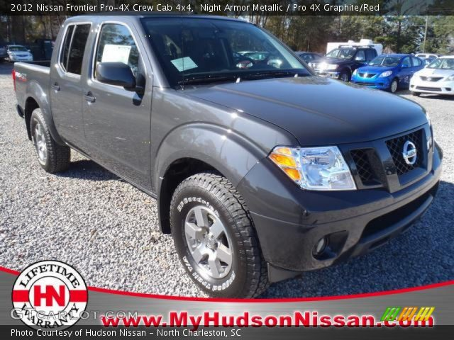 night armor metallic 2012 nissan frontier pro 4x crew cab 4x4 pro 4x graphite red interior. Black Bedroom Furniture Sets. Home Design Ideas