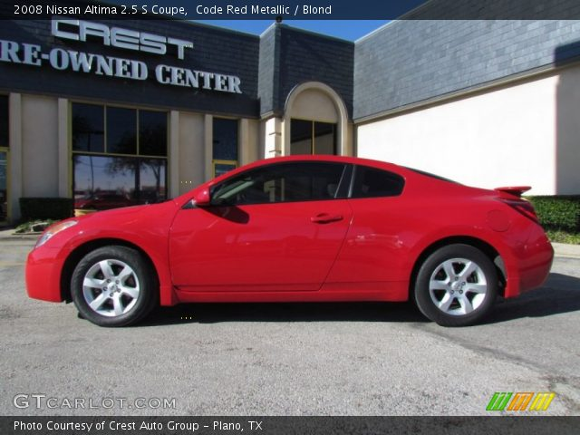 code red metallic 2008 nissan altima 2 5 s coupe blond interior vehicle. Black Bedroom Furniture Sets. Home Design Ideas