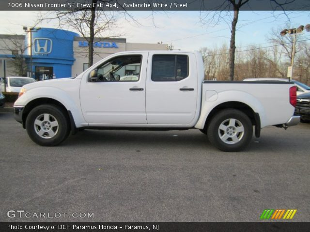 avalanche white 2006 nissan frontier se crew cab 4x4 steel interior vehicle. Black Bedroom Furniture Sets. Home Design Ideas