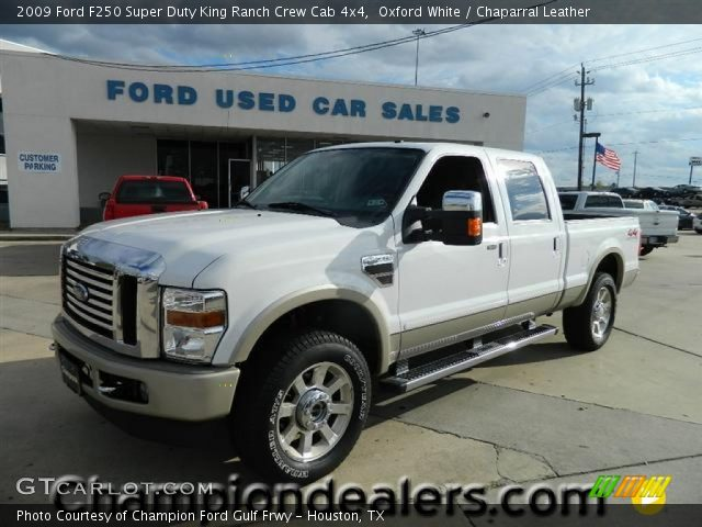 oxford white 2009 ford f250 super duty king ranch crew cab 4x4 chaparral leather interior. Black Bedroom Furniture Sets. Home Design Ideas