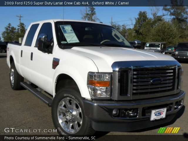 oxford white 2009 ford f250 super duty lariat crew cab 4x4 camel interior. Black Bedroom Furniture Sets. Home Design Ideas