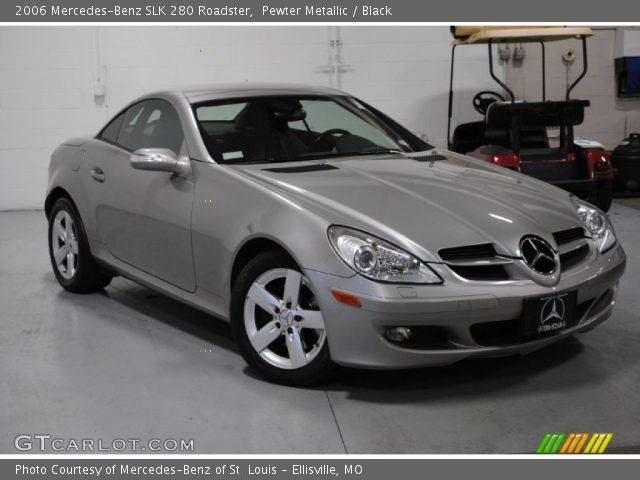 pewter metallic 2006 mercedes benz slk 280 roadster black interior vehicle. Black Bedroom Furniture Sets. Home Design Ideas