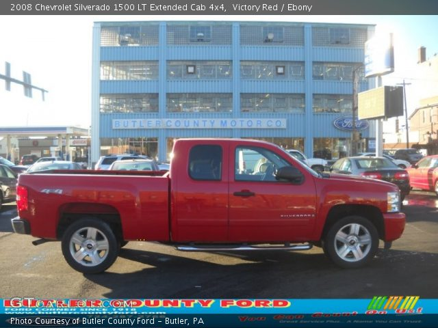 victory red 2008 chevrolet silverado 1500 lt extended cab 4x4 ebony interior. Black Bedroom Furniture Sets. Home Design Ideas
