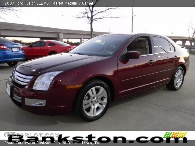 merlot metallic 2007 ford fusion sel v6 camel interior vehicle archive. Black Bedroom Furniture Sets. Home Design Ideas