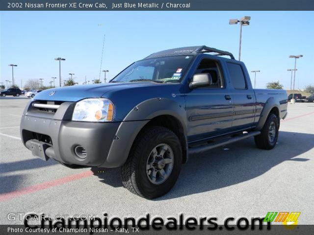 Just Blue Metallic 2002 Nissan Frontier Xe Crew Cab Charcoal Interior