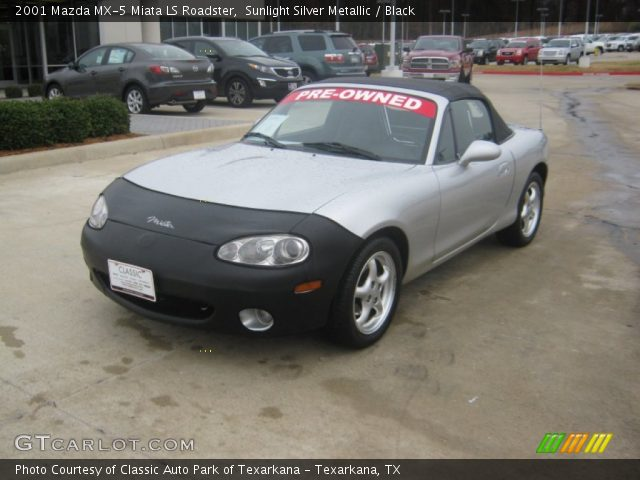 sunlight silver metallic 2001 mazda mx 5 miata ls roadster black interior. Black Bedroom Furniture Sets. Home Design Ideas