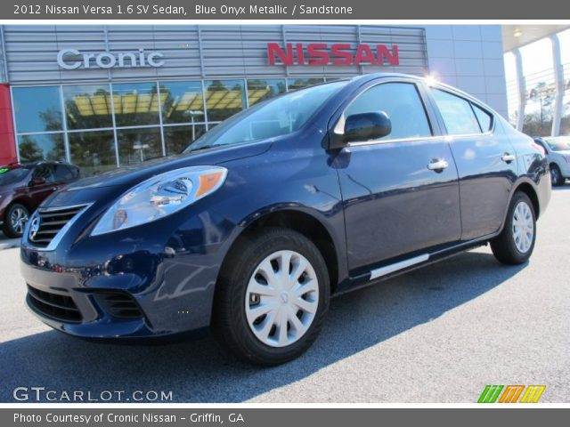 blue onyx metallic 2012 nissan versa 1 6 sv sedan sandstone interior. Black Bedroom Furniture Sets. Home Design Ideas
