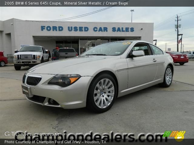 mineral silver metallic 2005 bmw 6 series 645i coupe cream beige interior. Black Bedroom Furniture Sets. Home Design Ideas