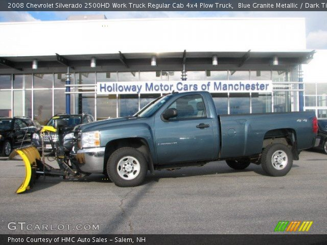 blue granite metallic 2008 chevrolet silverado 2500hd work truck regular cab 4x4 plow truck. Black Bedroom Furniture Sets. Home Design Ideas
