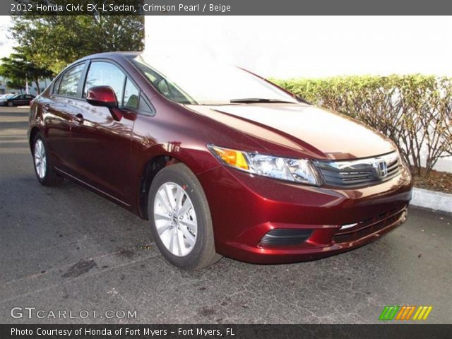 crimson pearl 2012 honda civic ex l sedan beige interior vehicle archive. Black Bedroom Furniture Sets. Home Design Ideas