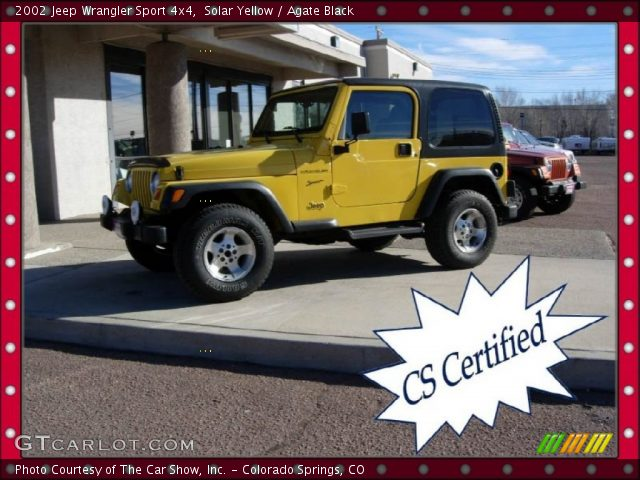 solar yellow 2002 jeep wrangler sport 4x4 agate black. Black Bedroom Furniture Sets. Home Design Ideas