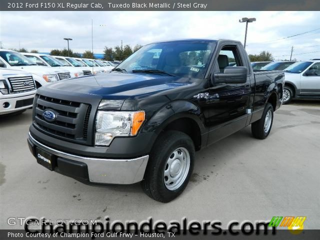 tuxedo black metallic 2012 ford f150 xl regular cab steel gray interior. Black Bedroom Furniture Sets. Home Design Ideas