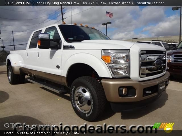 oxford white 2012 ford f350 super duty king ranch crew cab 4x4 dually chaparral leather. Black Bedroom Furniture Sets. Home Design Ideas