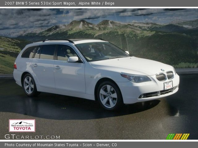 alpine white 2007 bmw 5 series 530xi sport wagon beige. Black Bedroom Furniture Sets. Home Design Ideas