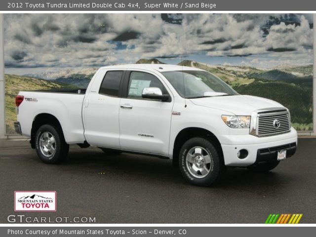 super white 2012 toyota tundra limited double cab 4x4 sand beige interior. Black Bedroom Furniture Sets. Home Design Ideas