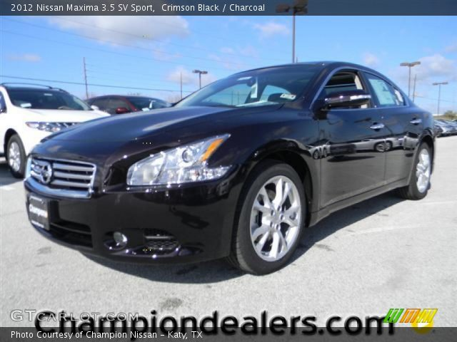 crimson black 2012 nissan maxima 3 5 sv sport charcoal interior vehicle. Black Bedroom Furniture Sets. Home Design Ideas