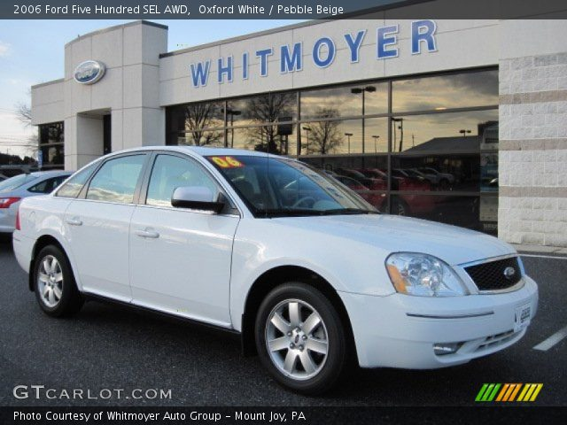 oxford white 2006 ford five hundred sel awd pebble beige interior vehicle. Black Bedroom Furniture Sets. Home Design Ideas