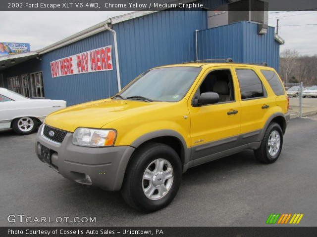 2002 Ford Escape XLT V6 4WD in Chrome Yellow. Click to see large photo