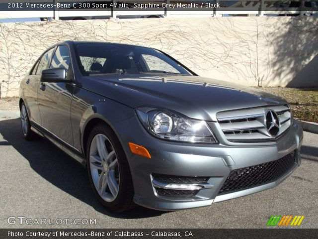 sapphire grey metallic 2012 mercedes benz c 300 sport 4matic black interior. Black Bedroom Furniture Sets. Home Design Ideas