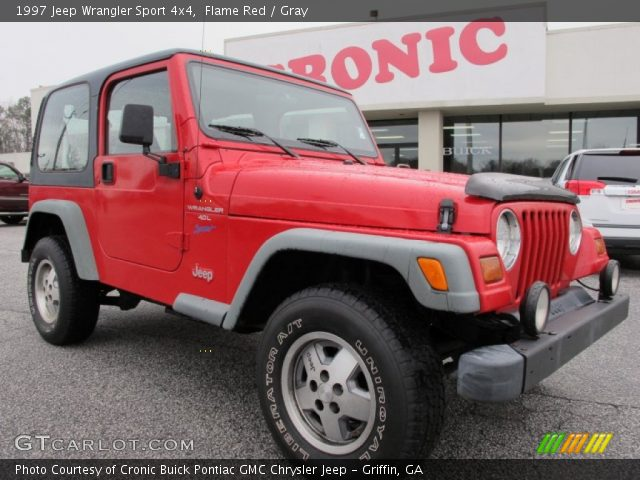Flame Red 1997 Jeep Wrangler Sport 4x4 Gray Interior Vehicle Archive 60973394